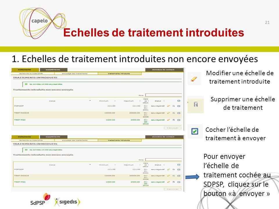 1. Echelles de traitement introduites non encore envoyées 21 Modifier une échelle de traitement introduite Supprimer une échelle de traitement Cocher