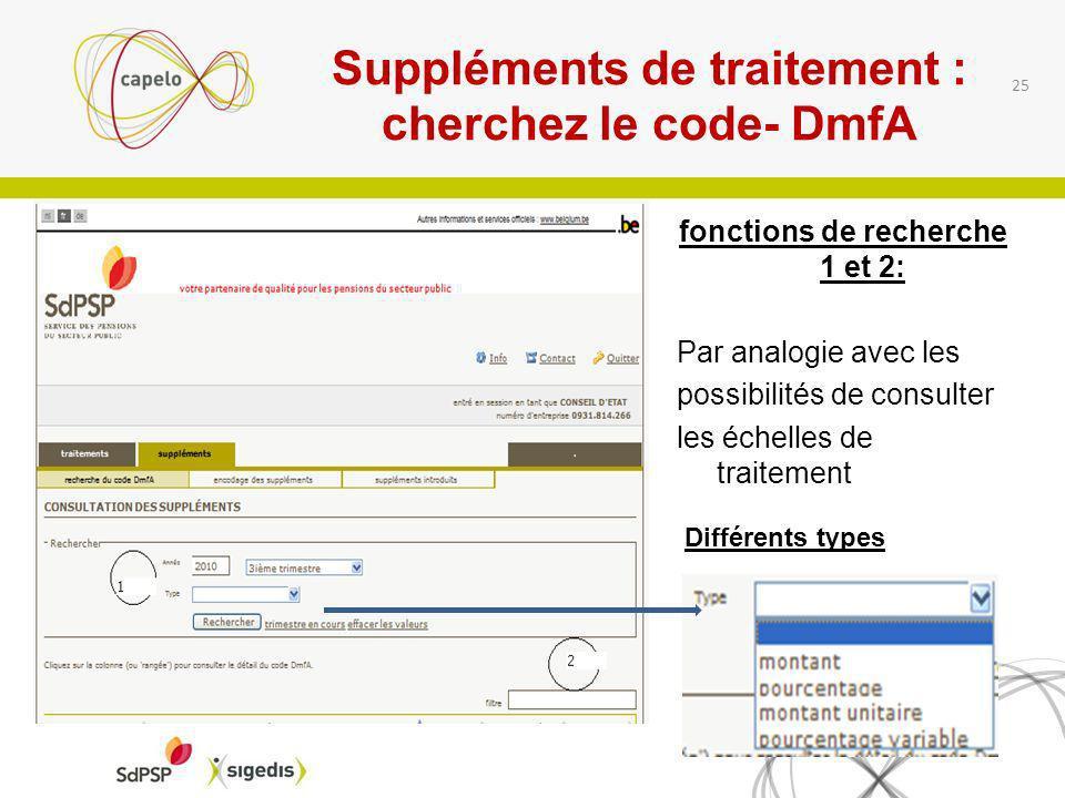 Suppléments de traitement : cherchez le code- DmfA fonctions de recherche 1 et 2: Par analogie avec les possibilités de consulter les échelles de trai