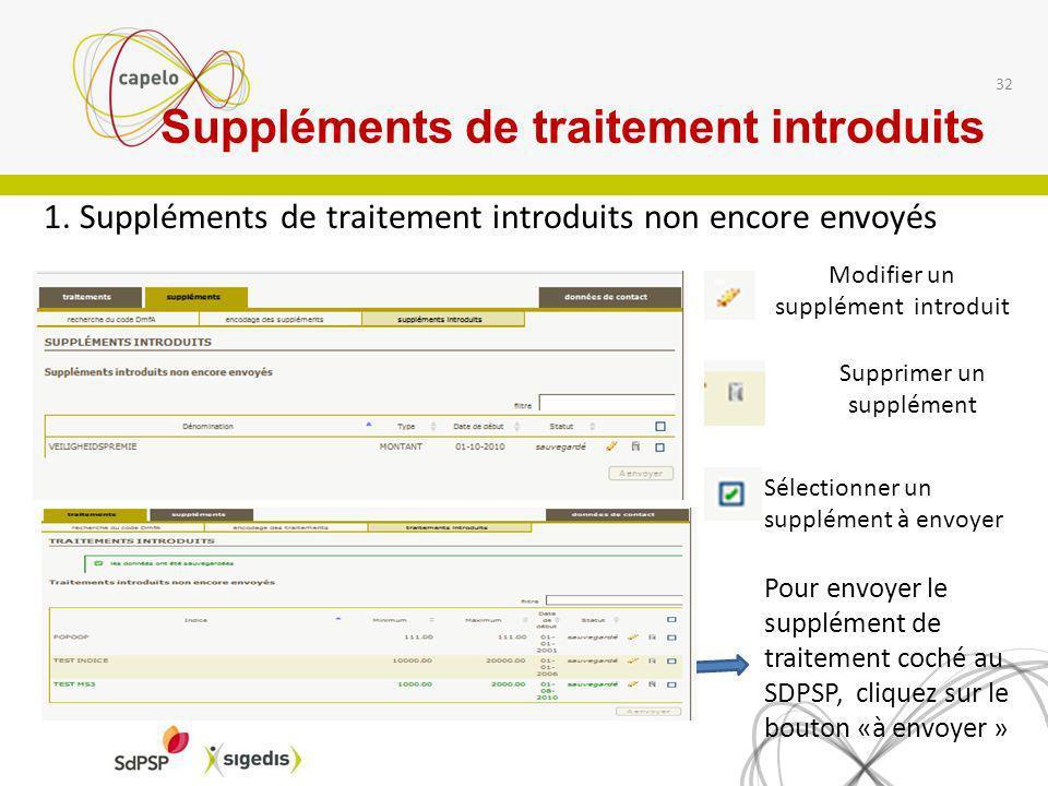 1. Suppléments de traitement introduits non encore envoyés 32 Modifier un supplément introduit Supprimer un supplément Sélectionner un supplément à en