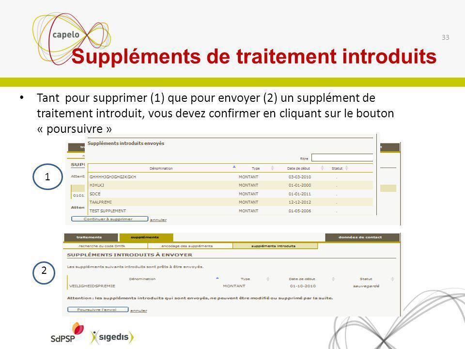 Tant pour supprimer (1) que pour envoyer (2) un supplément de traitement introduit, vous devez confirmer en cliquant sur le bouton « poursuivre » 33 1