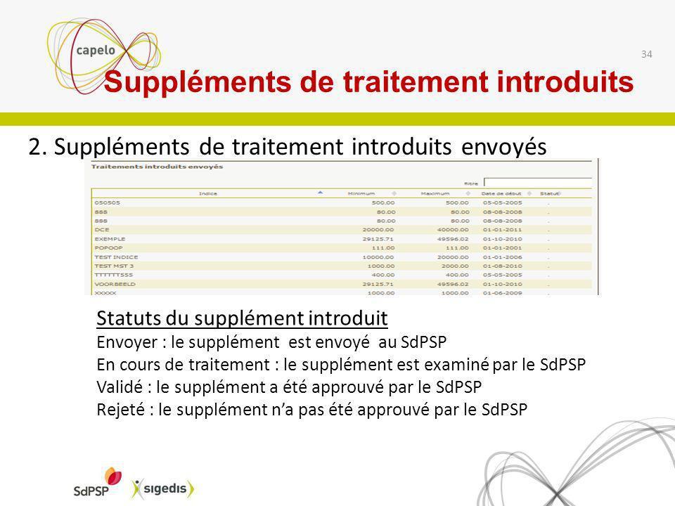2. Suppléments de traitement introduits envoyés 34 Statuts du supplément introduit Envoyer : le supplément est envoyé au SdPSP En cours de traitement