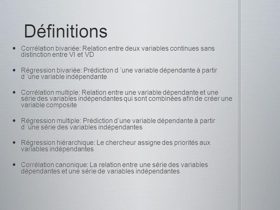 Corrélation bivariée: Relation entre deux variables continues sans distinction entre VI et VD Corrélation bivariée: Relation entre deux variables cont