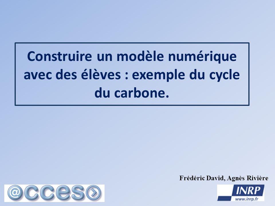 Construire un modèle numérique avec des élèves : exemple du cycle du carbone. Frédéric David, Agnès Rivière