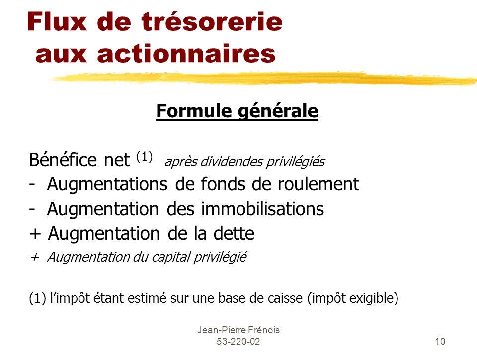 Jean-Pierre Frénois 53-220-0210 Flux de trésorerie aux actionnaires Formule générale Bénéfice net (1) après dividendes privilégiés - Augmentations de