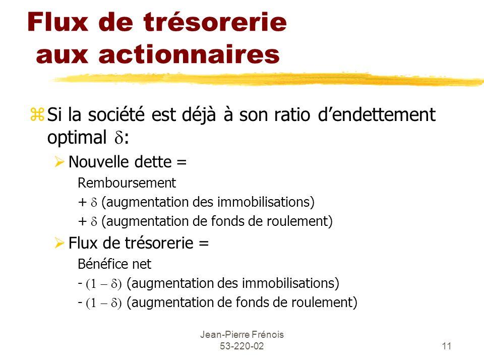 Jean-Pierre Frénois 53-220-0211 Flux de trésorerie aux actionnaires Si la société est déjà à son ratio dendettement optimal : Nouvelle dette = Rembour