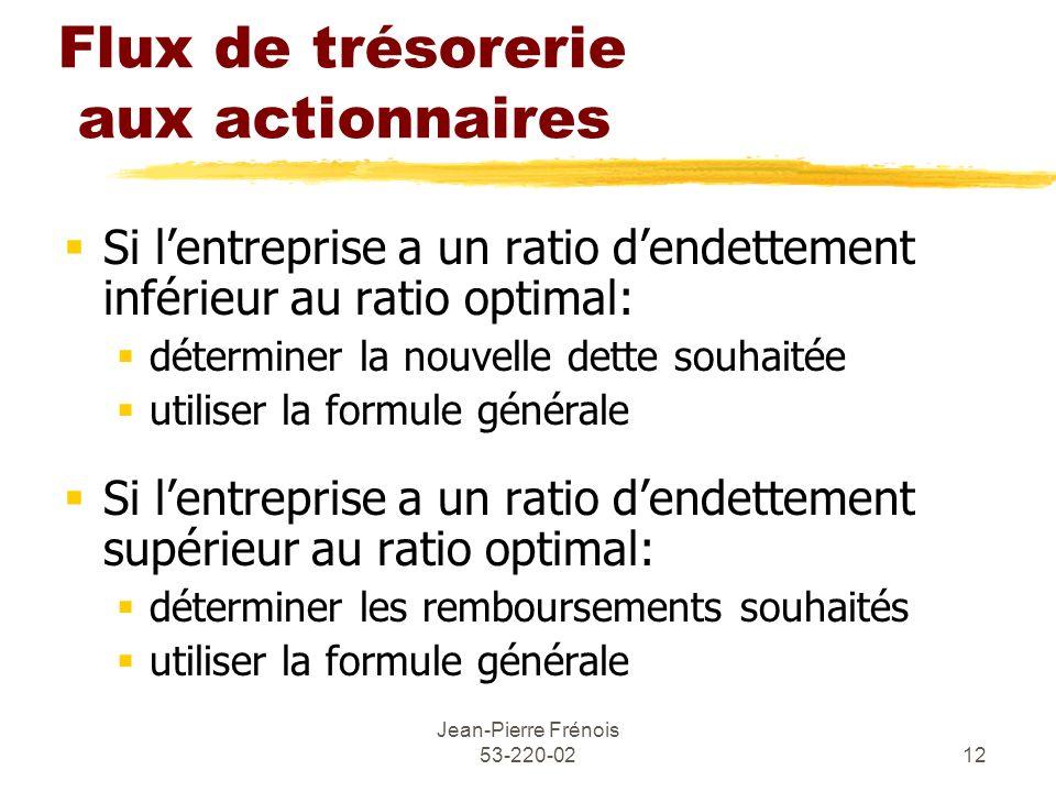 Jean-Pierre Frénois 53-220-0212 Flux de trésorerie aux actionnaires Si lentreprise a un ratio dendettement inférieur au ratio optimal: déterminer la n