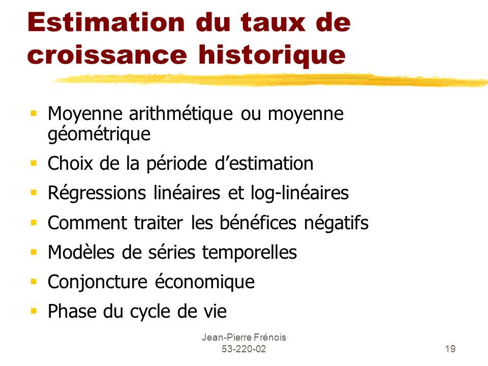 Jean-Pierre Frénois 53-220-0219 Estimation du taux de croissance historique Moyenne arithmétique ou moyenne géométrique Choix de la période destimatio