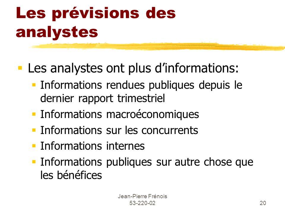 Jean-Pierre Frénois 53-220-0220 Les prévisions des analystes Les analystes ont plus dinformations: Informations rendues publiques depuis le dernier ra