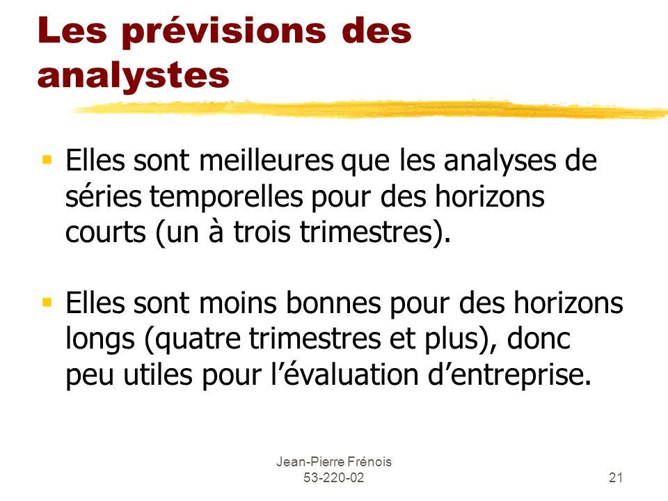 Jean-Pierre Frénois 53-220-0221 Les prévisions des analystes Elles sont meilleures que les analyses de séries temporelles pour des horizons courts (un
