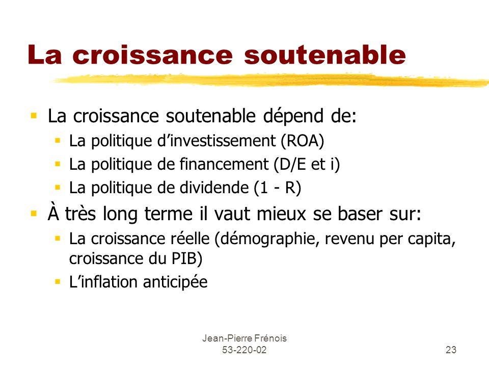 Jean-Pierre Frénois 53-220-0223 La croissance soutenable La croissance soutenable dépend de: La politique dinvestissement (ROA) La politique de financ