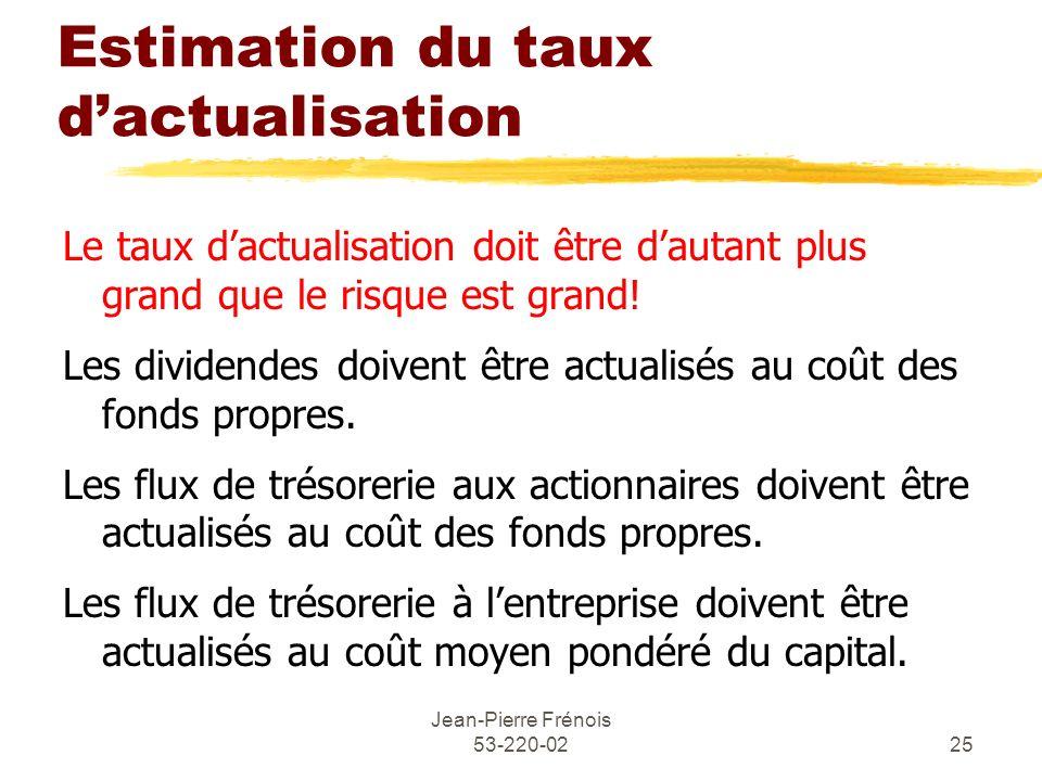 Jean-Pierre Frénois 53-220-0225 Estimation du taux dactualisation Le taux dactualisation doit être dautant plus grand que le risque est grand! Les div