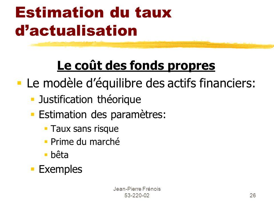 Jean-Pierre Frénois 53-220-0226 Estimation du taux dactualisation Le coût des fonds propres Le modèle déquilibre des actifs financiers: Justification