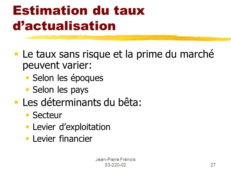 Jean-Pierre Frénois 53-220-0227 Estimation du taux dactualisation Le taux sans risque et la prime du marché peuvent varier: Selon les époques Selon le