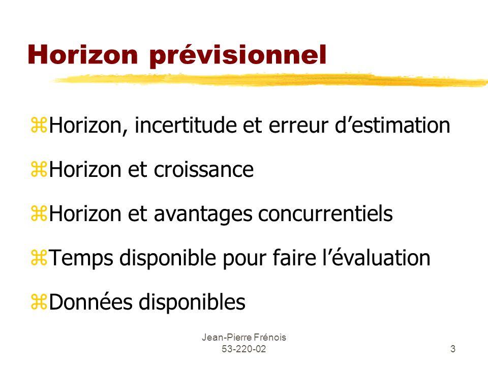 Jean-Pierre Frénois 53-220-023 Horizon prévisionnel zHorizon, incertitude et erreur destimation zHorizon et croissance zHorizon et avantages concurren