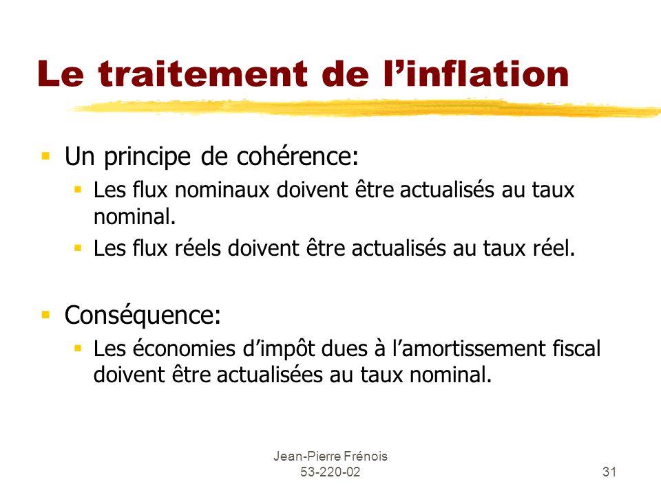 Jean-Pierre Frénois 53-220-0231 Le traitement de linflation Un principe de cohérence: Les flux nominaux doivent être actualisés au taux nominal. Les f