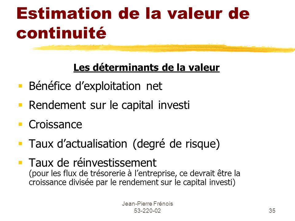 Jean-Pierre Frénois 53-220-0235 Estimation de la valeur de continuité Les déterminants de la valeur Bénéfice dexploitation net Rendement sur le capita