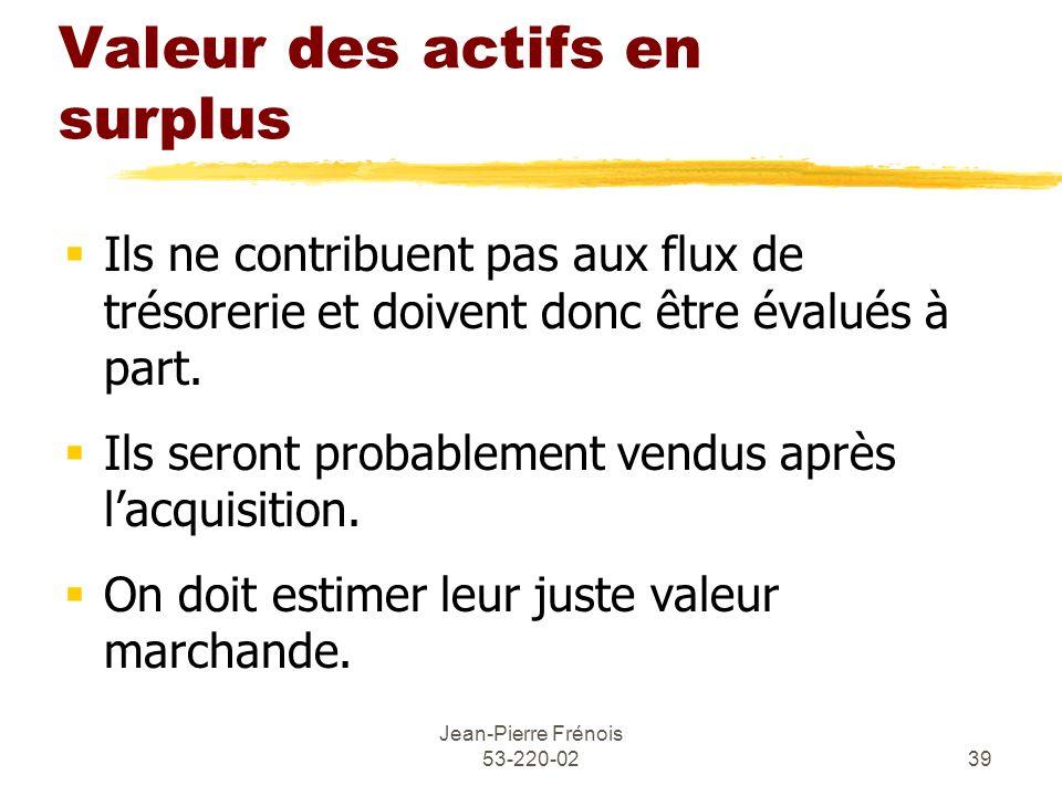 Jean-Pierre Frénois 53-220-0239 Valeur des actifs en surplus Ils ne contribuent pas aux flux de trésorerie et doivent donc être évalués à part. Ils se