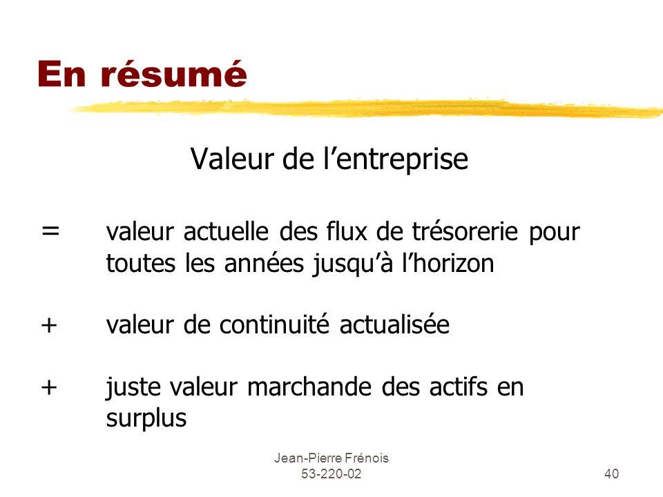Jean-Pierre Frénois 53-220-0240 En résumé Valeur de lentreprise = valeur actuelle des flux de trésorerie pour toutes les années jusquà lhorizon + vale