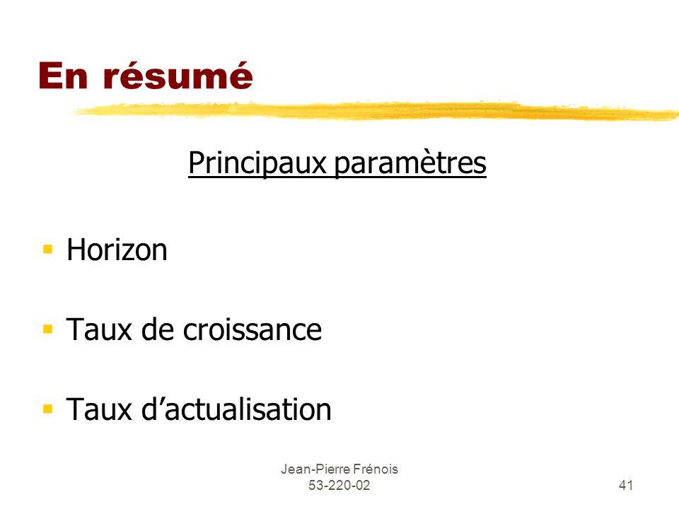Jean-Pierre Frénois 53-220-0241 En résumé Principaux paramètres Horizon Taux de croissance Taux dactualisation