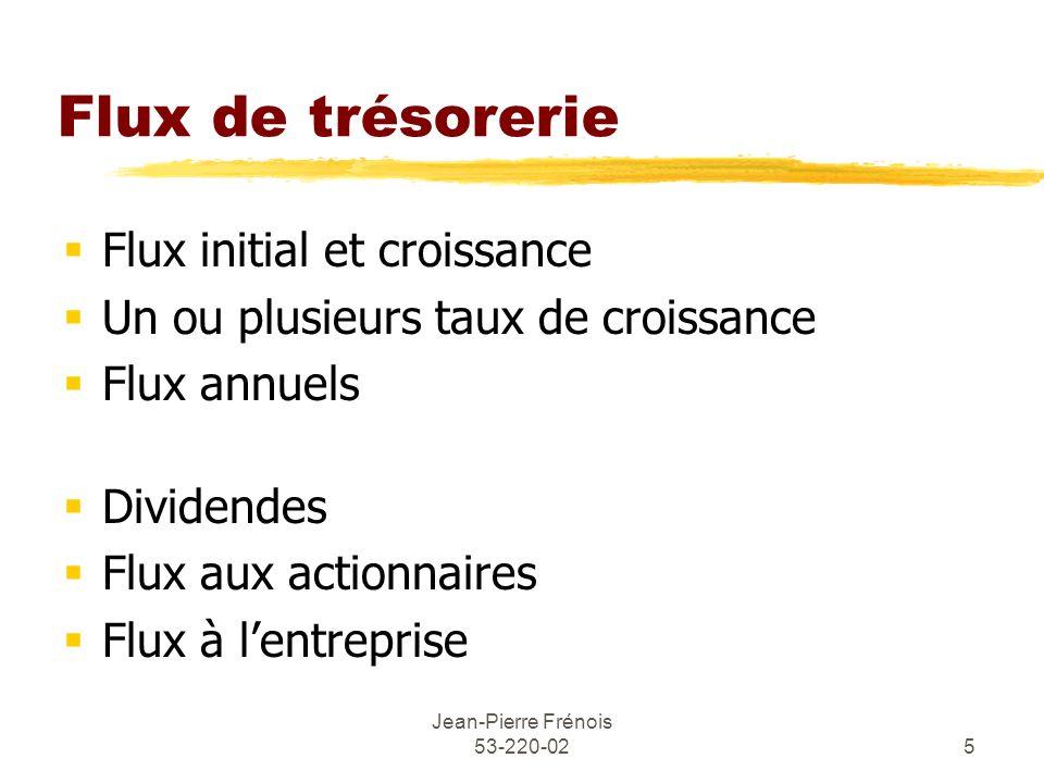 Jean-Pierre Frénois 53-220-025 Flux de trésorerie Flux initial et croissance Un ou plusieurs taux de croissance Flux annuels Dividendes Flux aux actio