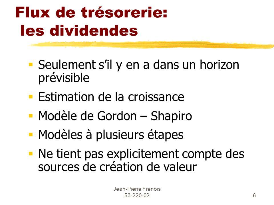 Jean-Pierre Frénois 53-220-026 Flux de trésorerie: les dividendes Seulement sil y en a dans un horizon prévisible Estimation de la croissance Modèle d