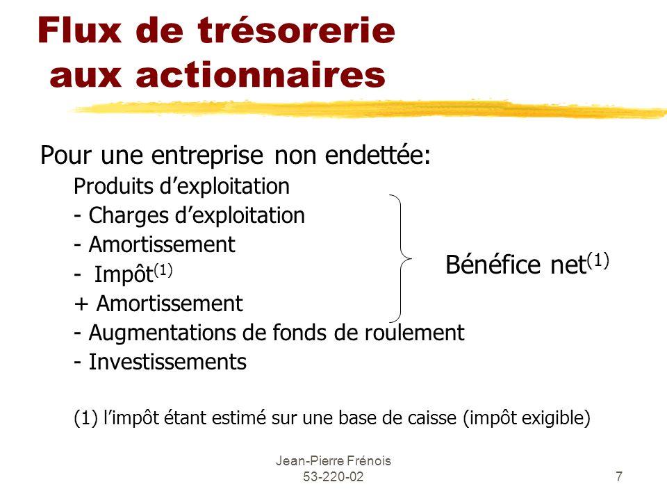 Jean-Pierre Frénois 53-220-027 Flux de trésorerie aux actionnaires Pour une entreprise non endettée: Produits dexploitation - Charges dexploitation -