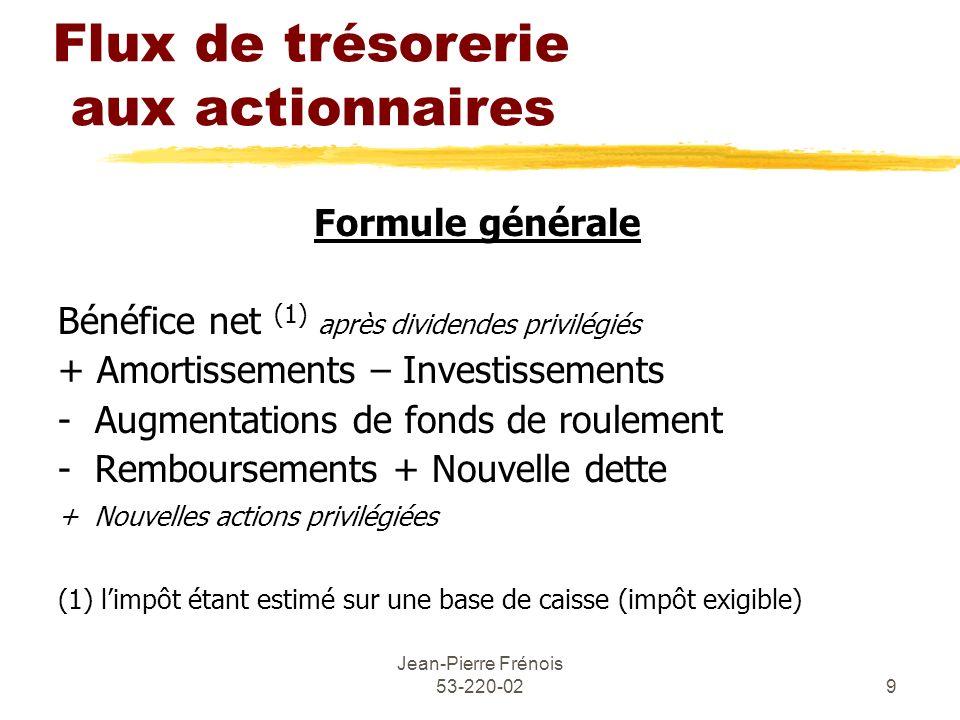 Jean-Pierre Frénois 53-220-029 Flux de trésorerie aux actionnaires Formule générale Bénéfice net (1) après dividendes privilégiés + Amortissements – I
