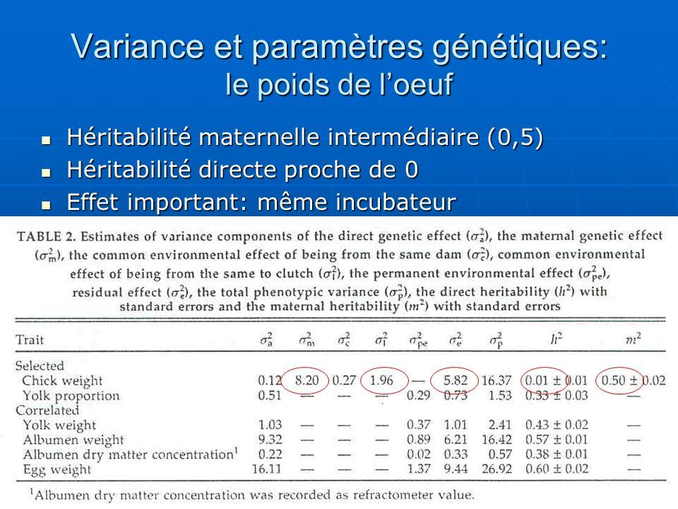 Variance et paramètres génétiques: le poids de loeuf Héritabilité maternelle intermédiaire (0,5) Héritabilité maternelle intermédiaire (0,5) Héritabil