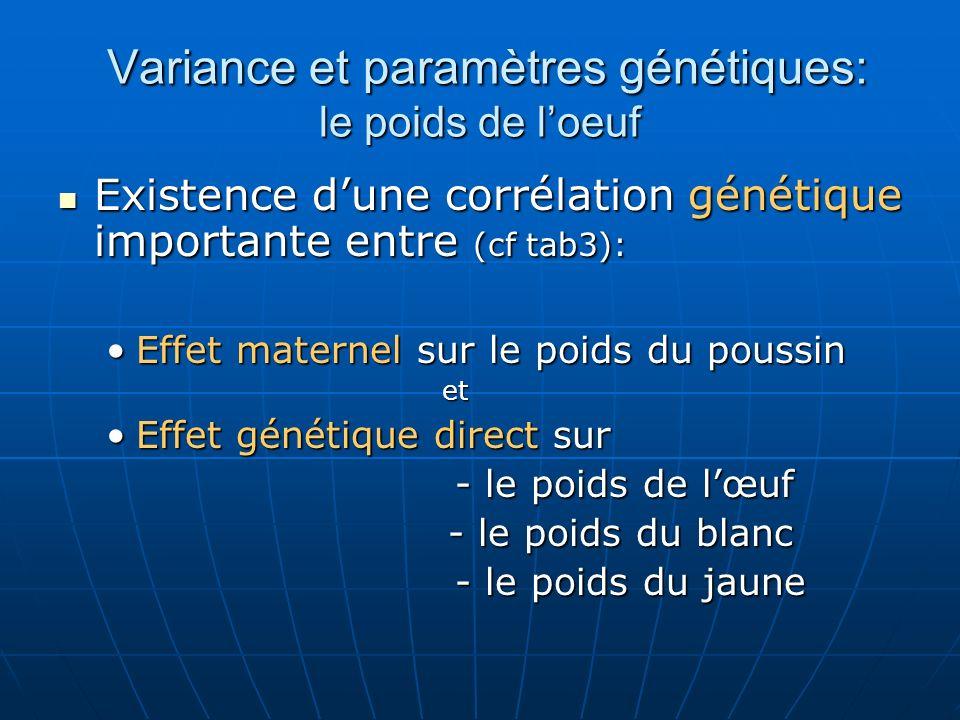 Variance et paramètres génétiques: le poids de loeuf Existence dune corrélation génétique importante entre (cf tab3): Existence dune corrélation génét