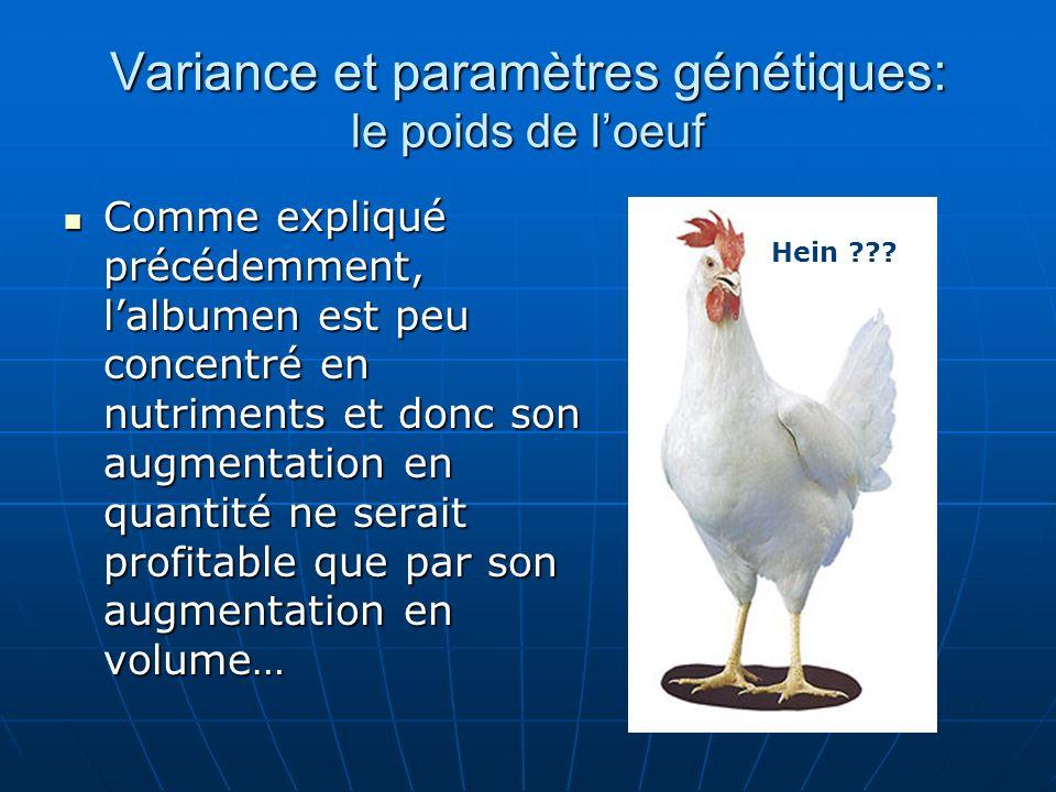 Variance et paramètres génétiques: le poids de loeuf Comme expliqué précédemment, lalbumen est peu concentré en nutriments et donc son augmentation en