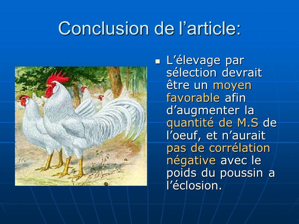 Conclusion de larticle: Lélevage par sélection devrait être un moyen favorable afin daugmenter la quantité de M.S de loeuf, et naurait pas de corrélat