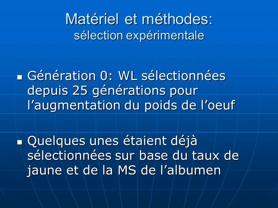 Matériel et méthodes: sélection expérimentale Génération 0: WL sélectionnées depuis 25 générations pour laugmentation du poids de loeuf Génération 0: