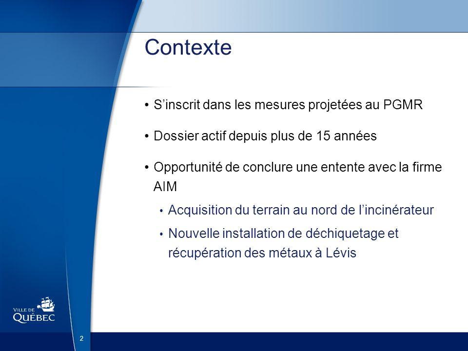 2 Contexte Sinscrit dans les mesures projetées au PGMR Dossier actif depuis plus de 15 années Opportunité de conclure une entente avec la firme AIM Ac