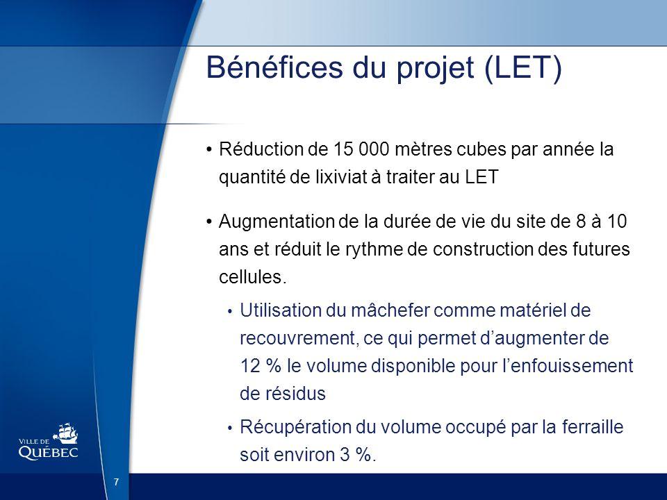 7 Bénéfices du projet (LET) Réduction de 15 000 mètres cubes par année la quantité de lixiviat à traiter au LET Augmentation de la durée de vie du sit