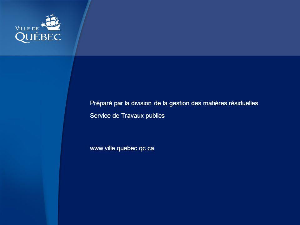 www.ville.quebec.qc.ca Préparé par la division de la gestion des matières résiduelles Service de Travaux publics