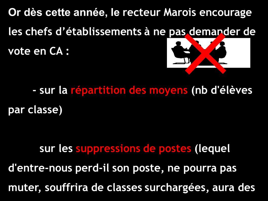 Or dès cette année, le recteur Marois encourage les chefs détablissements à ne pas demander de vote en CA : - sur la répartition des moyens (nb d'élèv