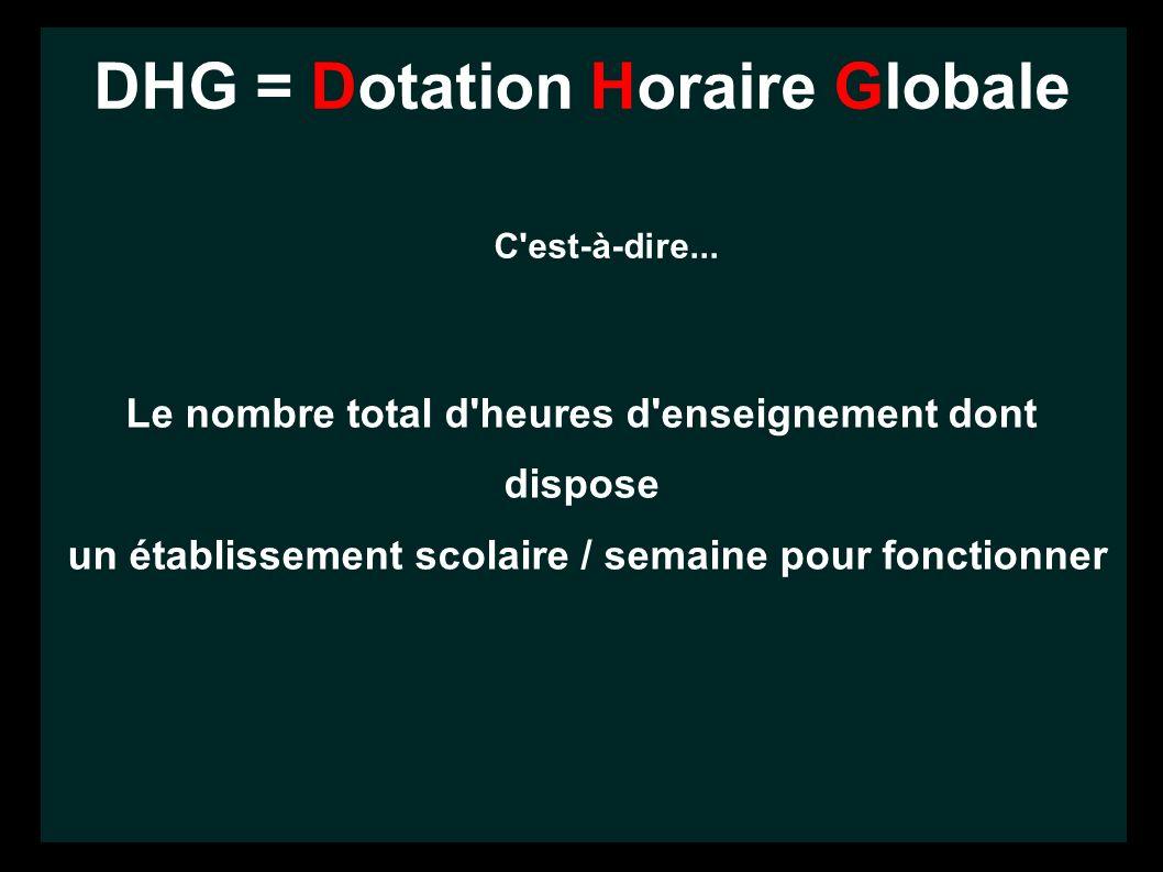 DHG = Dotation Horaire Globale Le nombre total d'heures d'enseignement dont dispose un établissement scolaire / semaine pour fonctionner C'est-à-dire.
