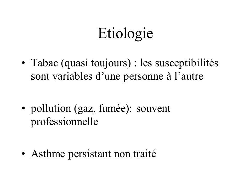 Etiologie Tabac (quasi toujours) : les susceptibilités sont variables dune personne à lautre pollution (gaz, fumée): souvent professionnelle Asthme pe