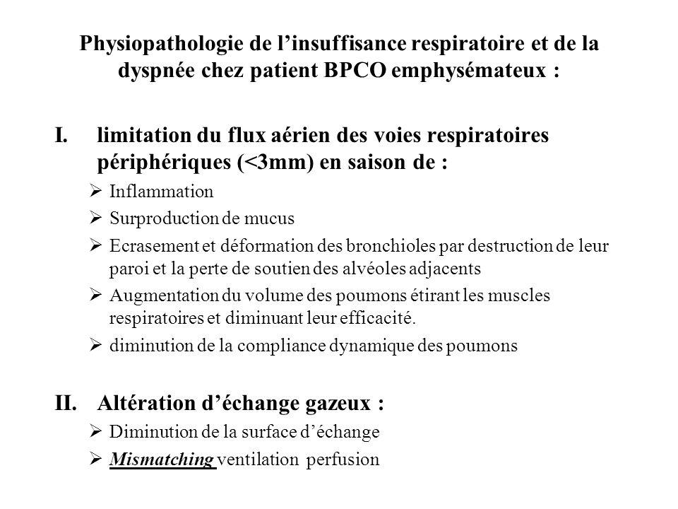 Physiopathologie de linsuffisance respiratoire et de la dyspnée chez patient BPCO emphysémateux : I.limitation du flux aérien des voies respiratoires