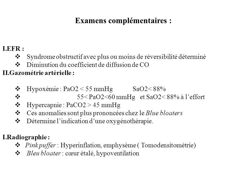 Examens complémentaires : I.EFR : Syndrome obstructif avec plus ou moins de réversibilité déterminé Diminution du coefficient de diffusion de CO II.Ga