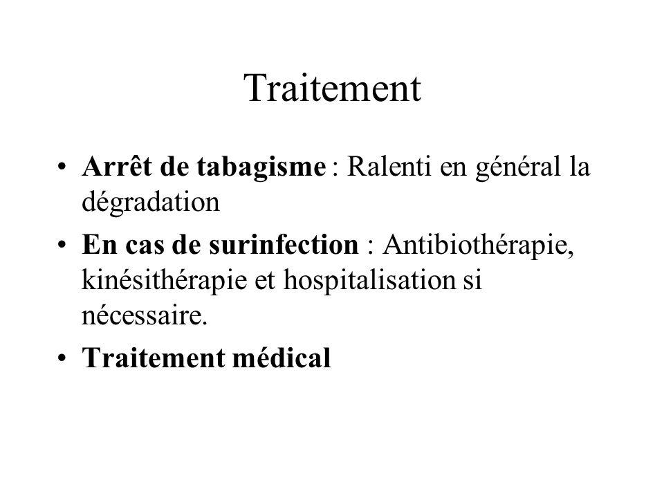 Traitement Arrêt de tabagisme : Ralenti en général la dégradation En cas de surinfection : Antibiothérapie, kinésithérapie et hospitalisation si néces