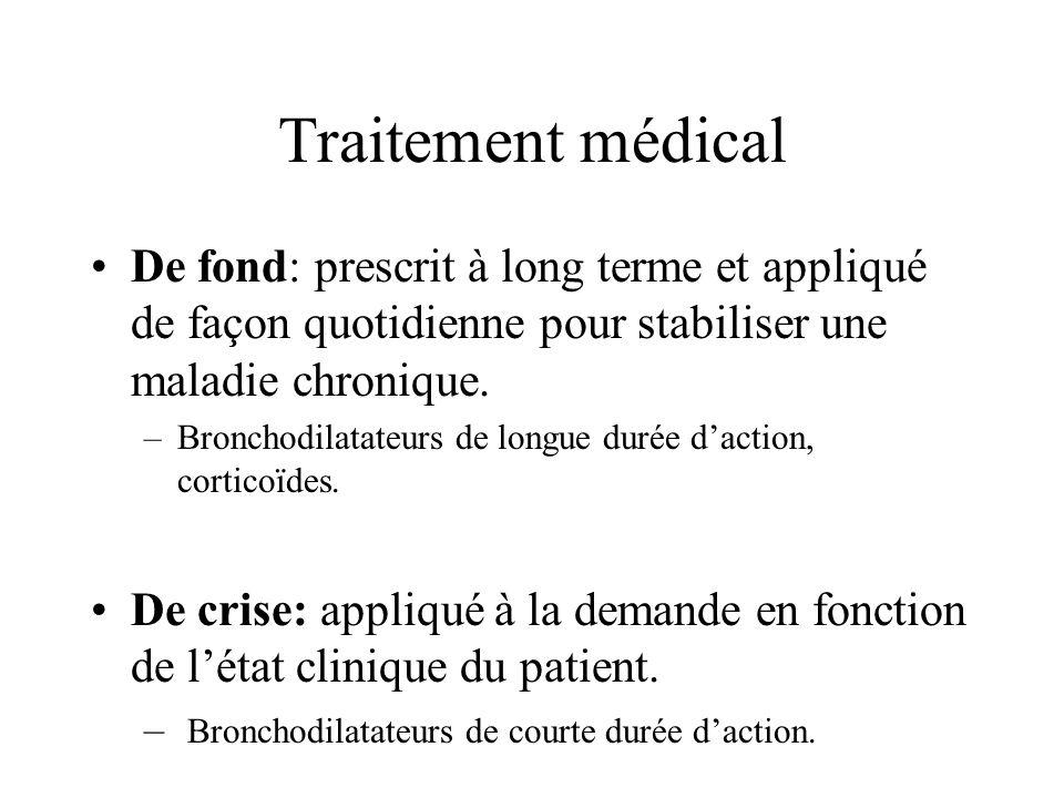 De fond: prescrit à long terme et appliqué de façon quotidienne pour stabiliser une maladie chronique. –Bronchodilatateurs de longue durée daction, co