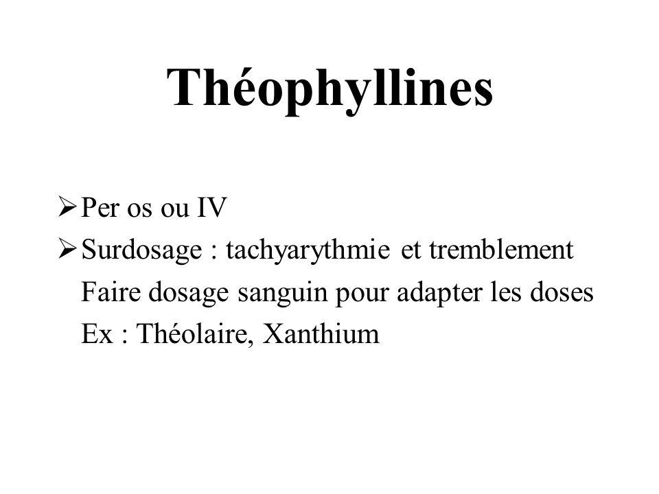 Théophyllines Per os ou IV Surdosage : tachyarythmie et tremblement Faire dosage sanguin pour adapter les doses Ex : Théolaire, Xanthium
