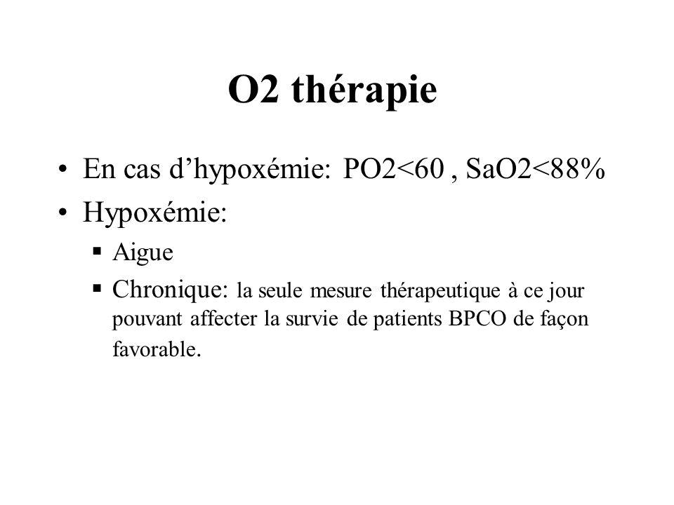 O2 thérapie En cas dhypoxémie: PO2<60, SaO2<88% Hypoxémie: Aigue Chronique: la seule mesure thérapeutique à ce jour pouvant affecter la survie de pati