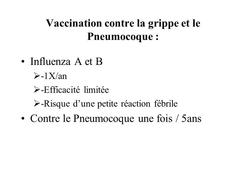 Vaccination contre la grippe et le Pneumocoque : Influenza A et B -1X/an -Efficacité limitée -Risque dune petite réaction fébrile Contre le Pneumocoqu