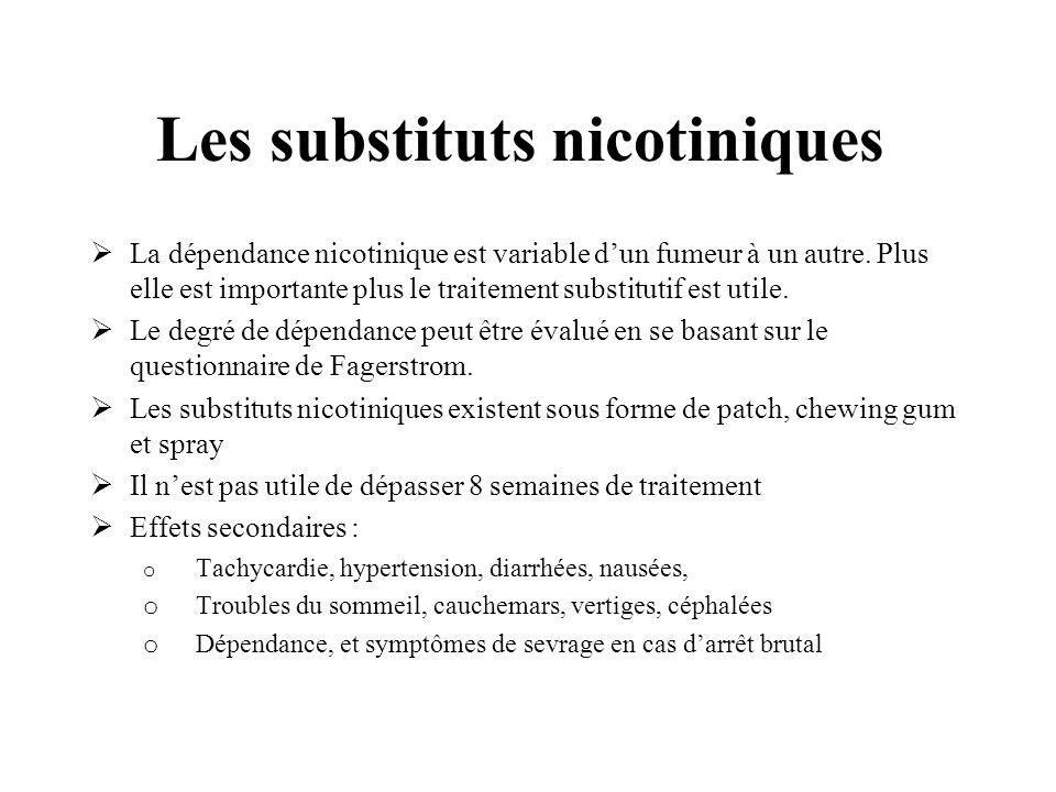 Les substituts nicotiniques La dépendance nicotinique est variable dun fumeur à un autre. Plus elle est importante plus le traitement substitutif est