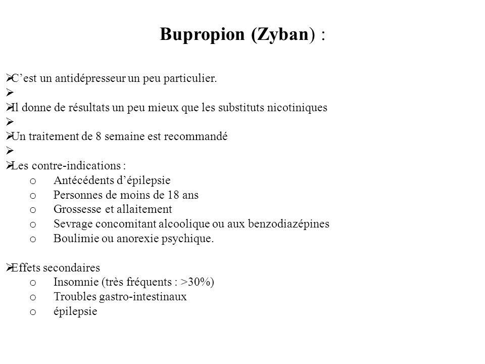 Bupropion (Zyban) : Cest un antidépresseur un peu particulier. Il donne de résultats un peu mieux que les substituts nicotiniques Un traitement de 8 s