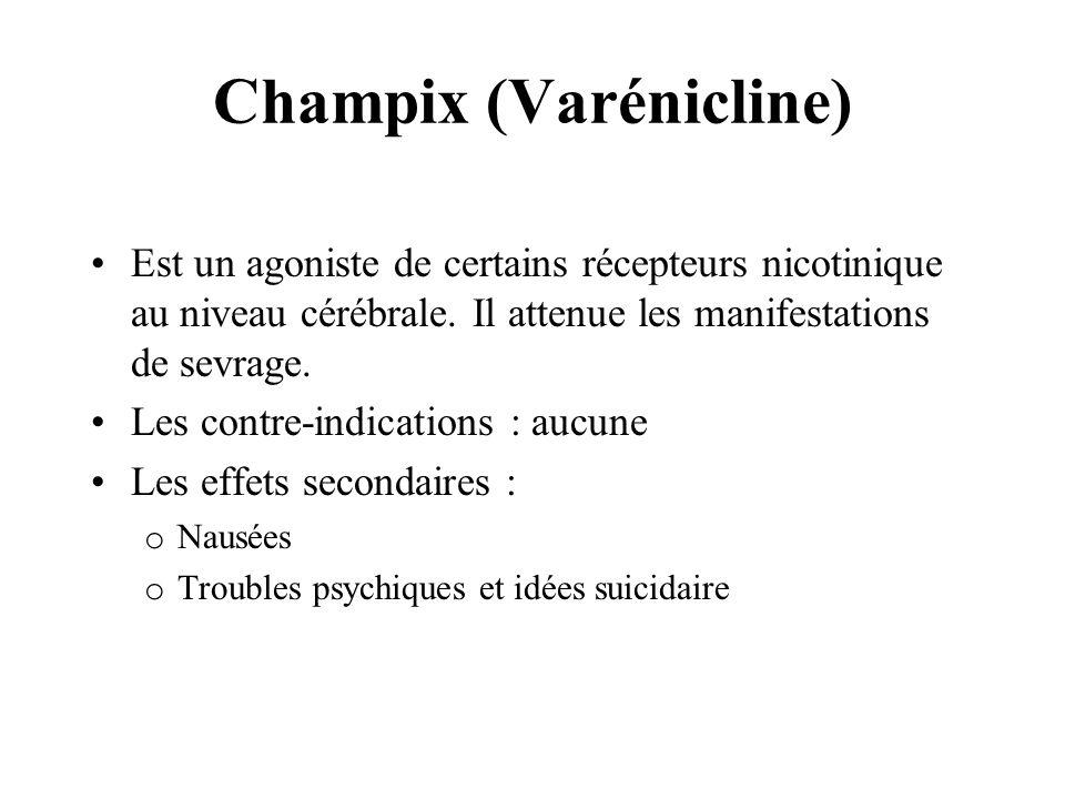 Champix (Varénicline) Est un agoniste de certains récepteurs nicotinique au niveau cérébrale. Il attenue les manifestations de sevrage. Les contre-ind