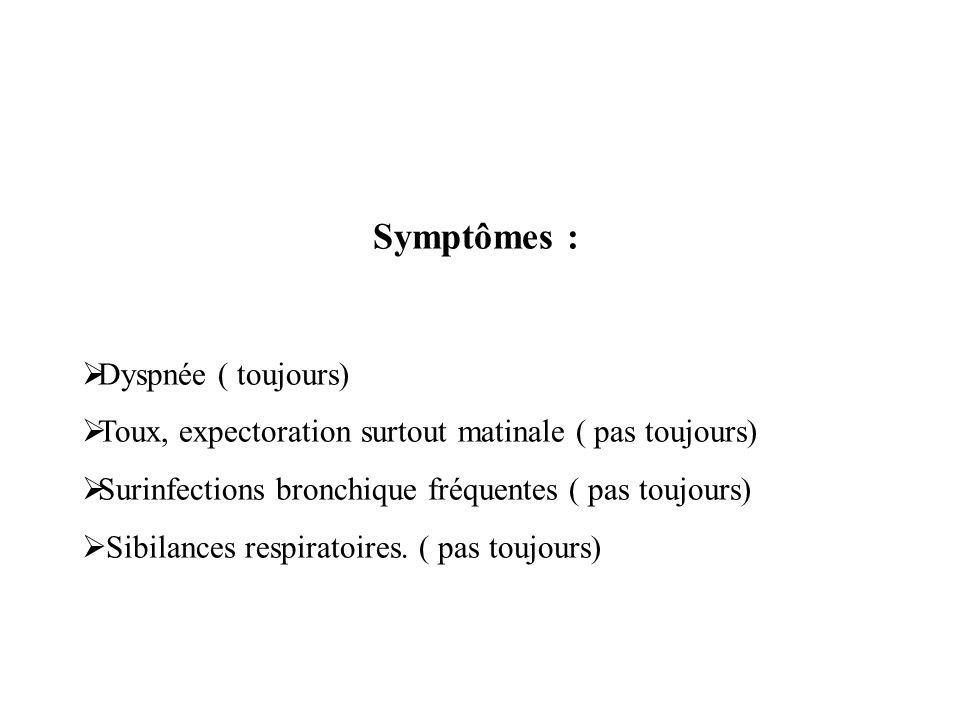 Symptômes : Dyspnée ( toujours) Toux, expectoration surtout matinale ( pas toujours) Surinfections bronchique fréquentes ( pas toujours) Sibilances re