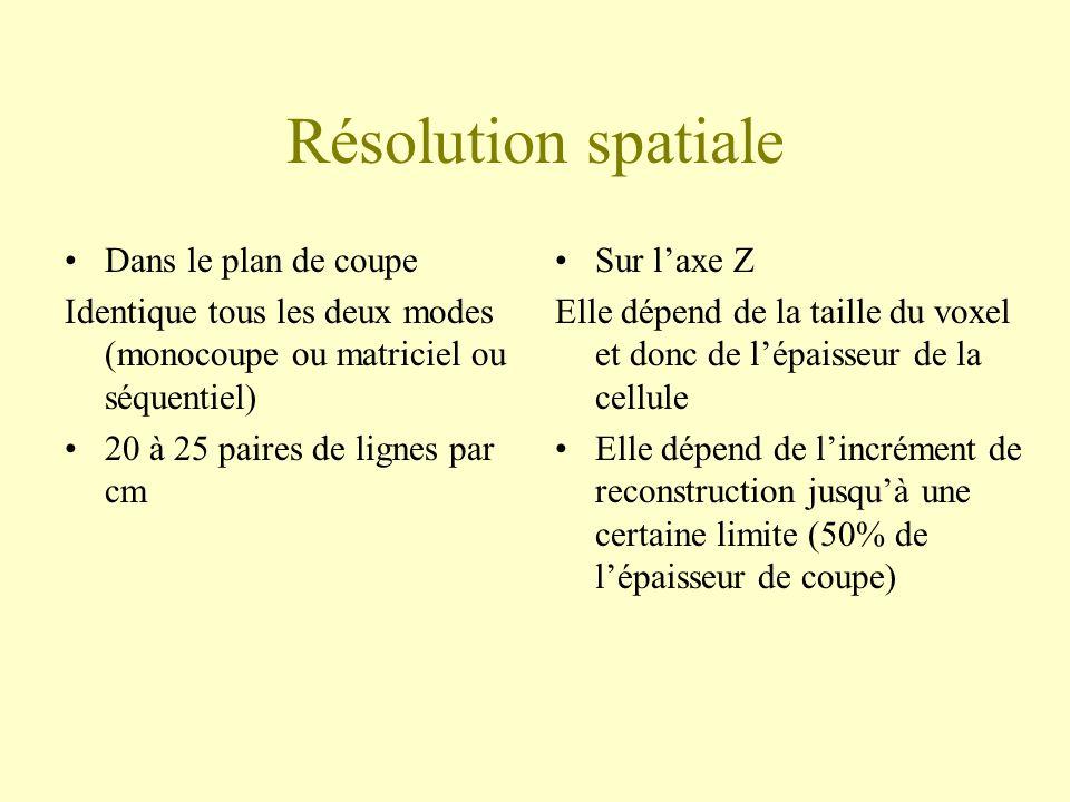Résolution spatiale Dans le plan de coupe Identique tous les deux modes (monocoupe ou matriciel ou séquentiel) 20 à 25 paires de lignes par cm Sur lax